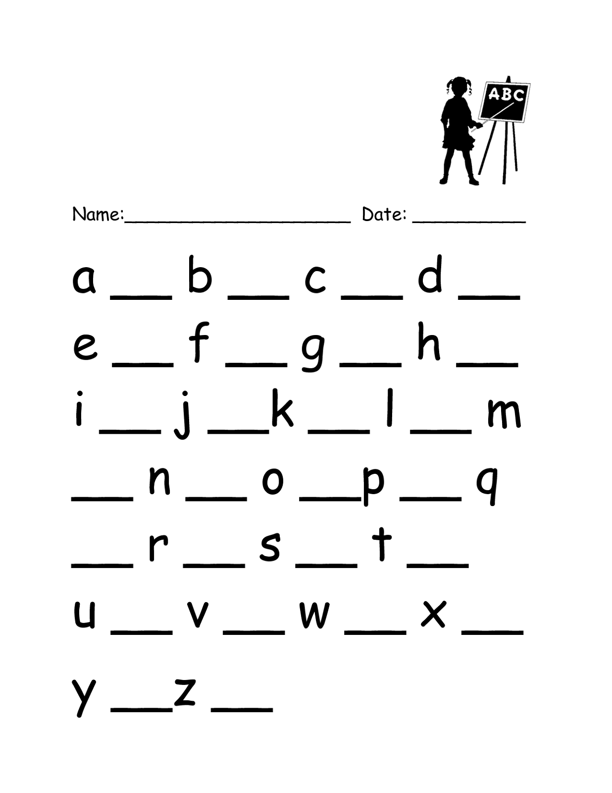 Lowercase Letter Worksheets