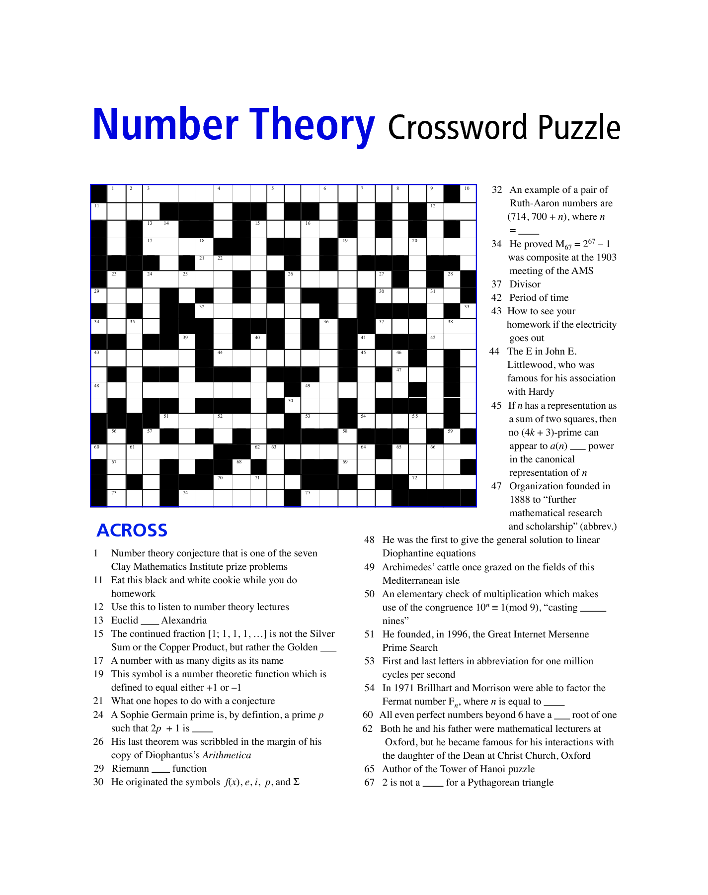 Math Puzzles Printable For Learning