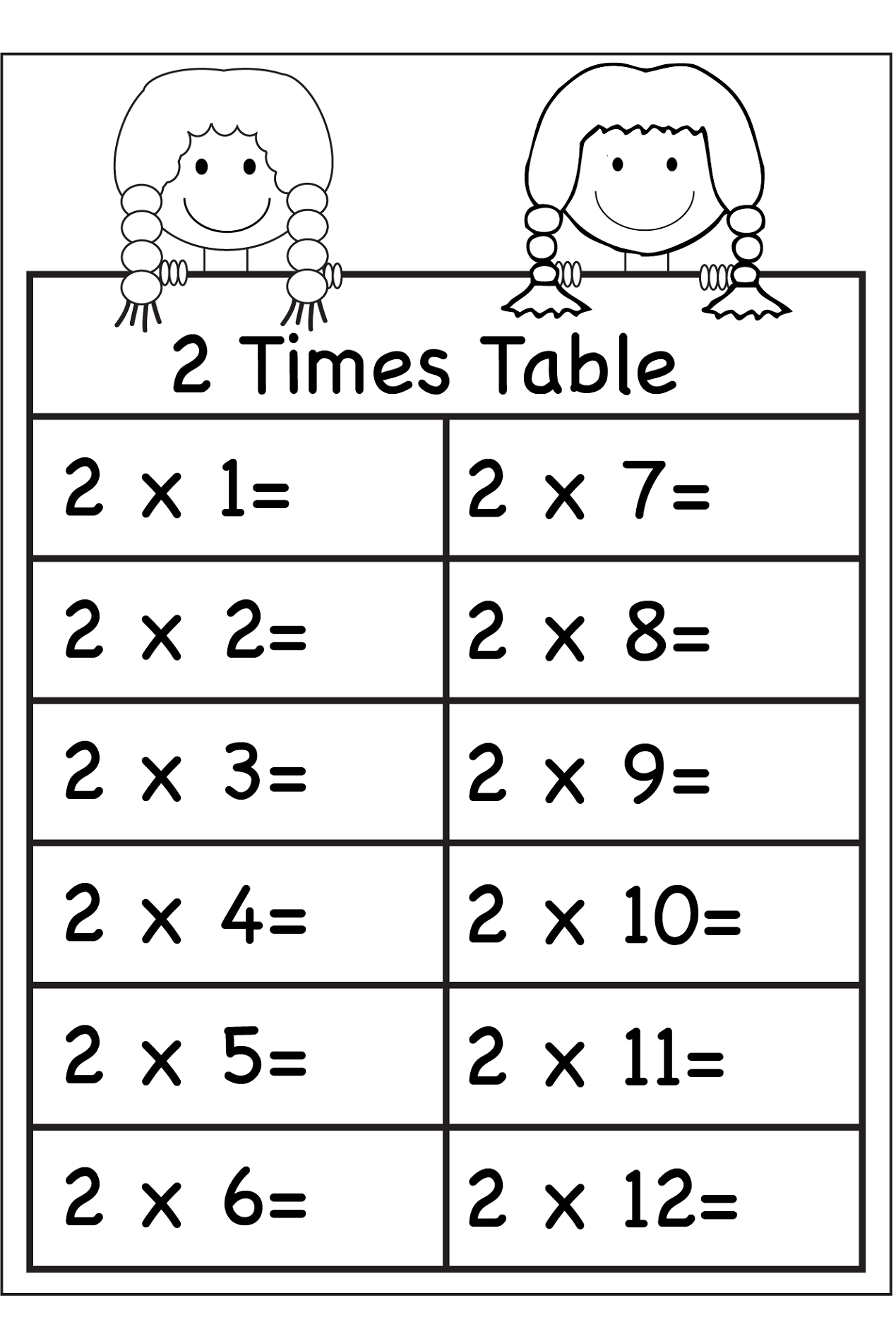 Printable 2 Times Table Worksheets