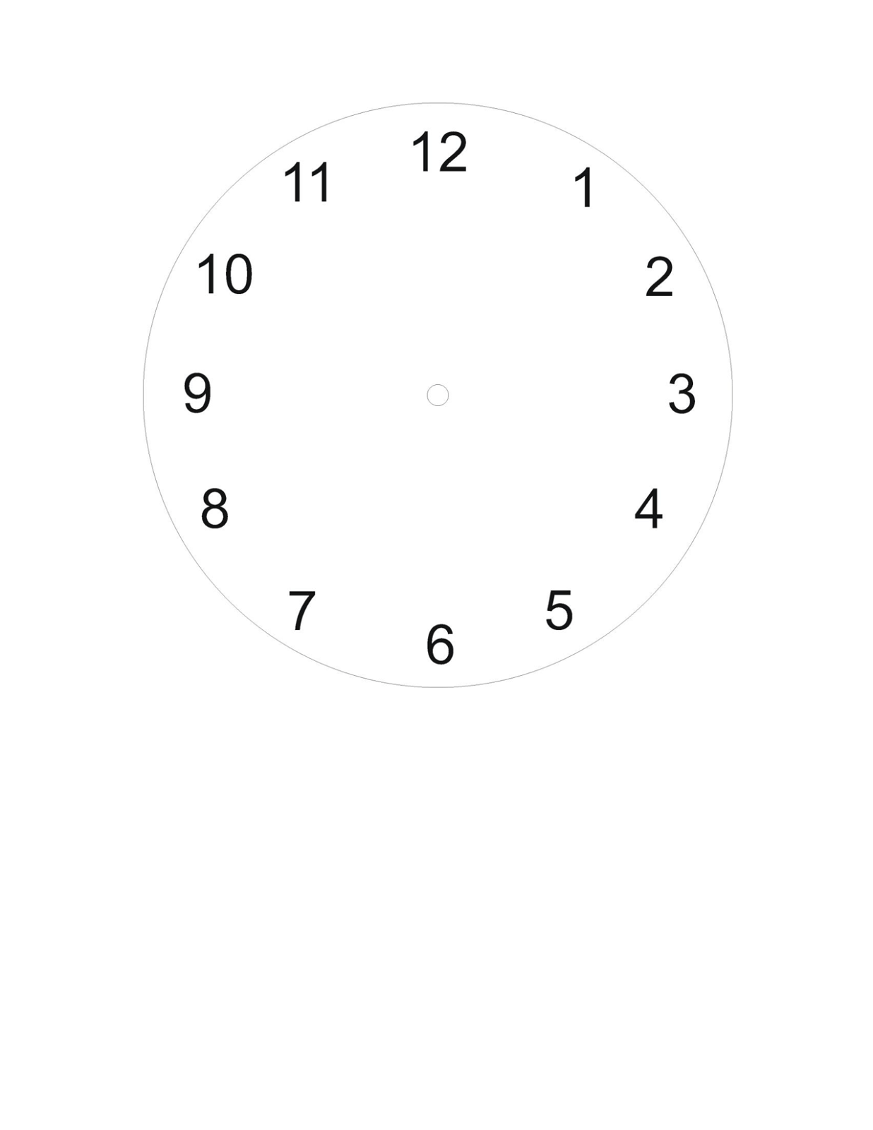 Plain Clock Faces Worksheet
