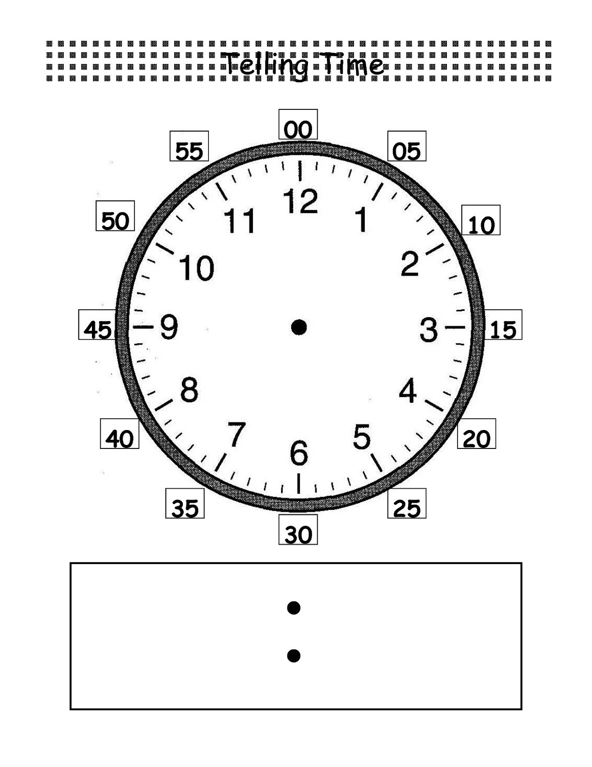 Worksheet For Kindergarten Clock