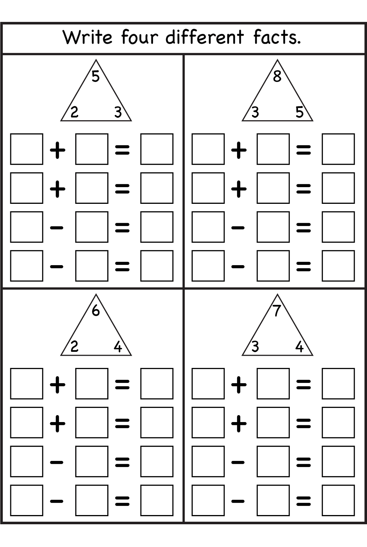 2nd Grade Math Worksheet For Addition Facts
