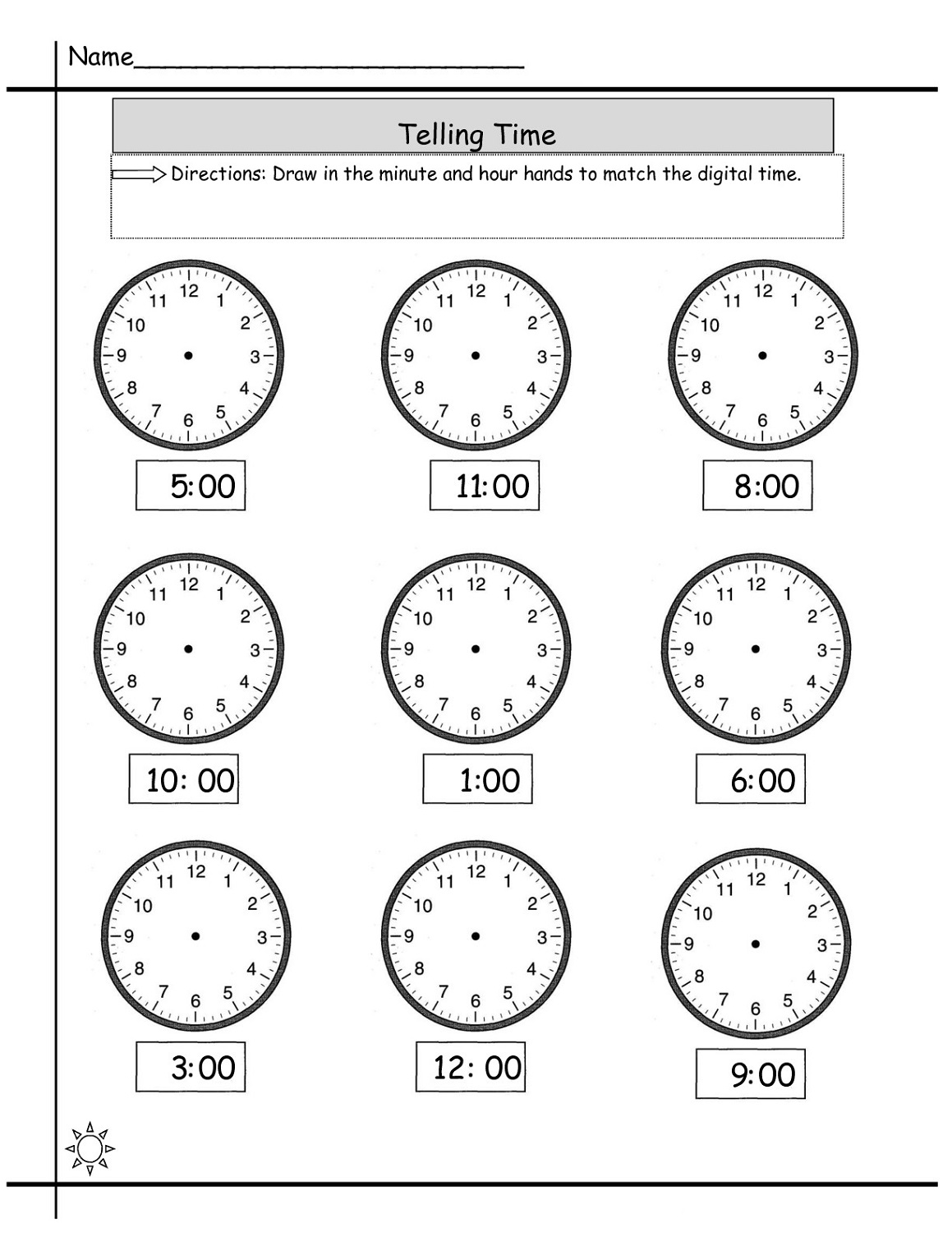 Mixed Telling Time Worksheet