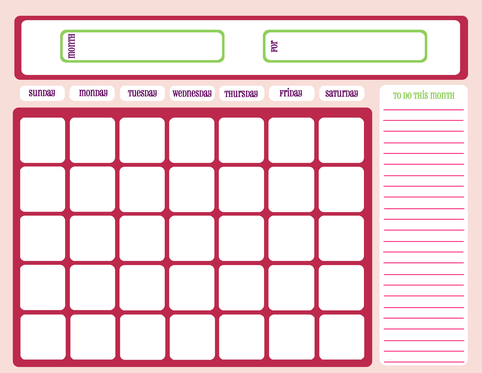 Download and print this blank 2021 monthly calendar template with easy to write in large boxes in landscape layout. Free Printable Calendar Templates   Activity Shelter