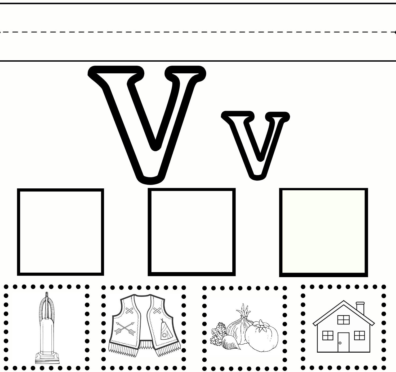 Letter Vv Worksheet For Kindergarten