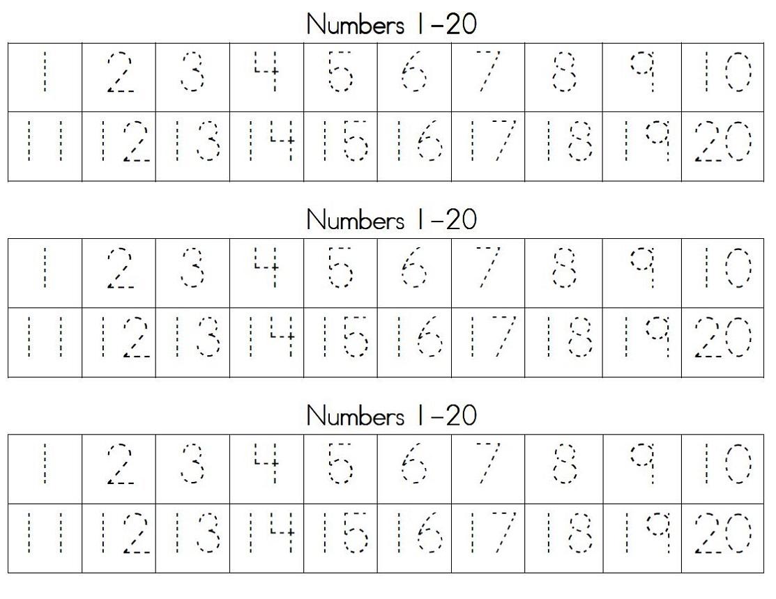 Printable Number 20 Worksheets