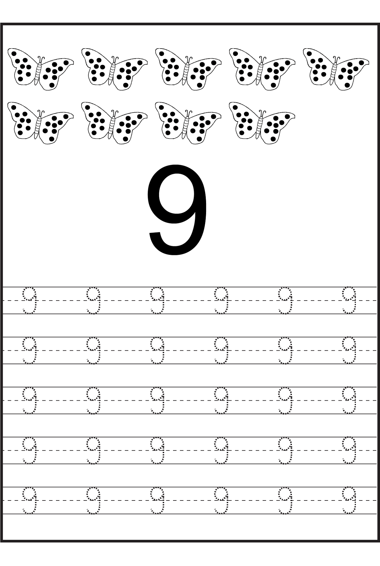 Number 9 Worksheets to Print