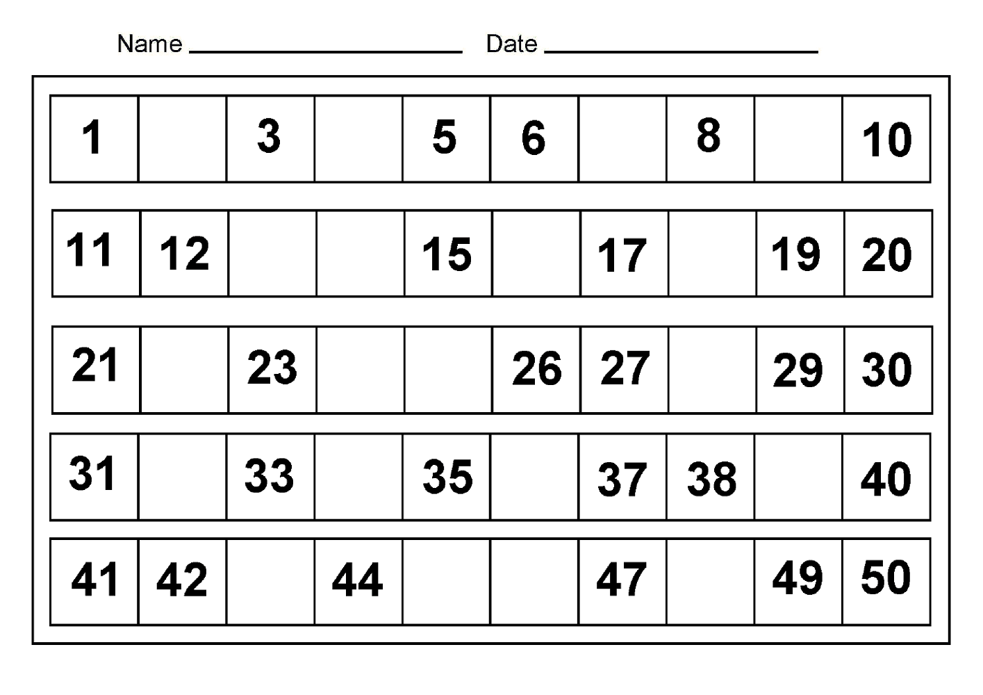 After Number Worksheet 1 To 50