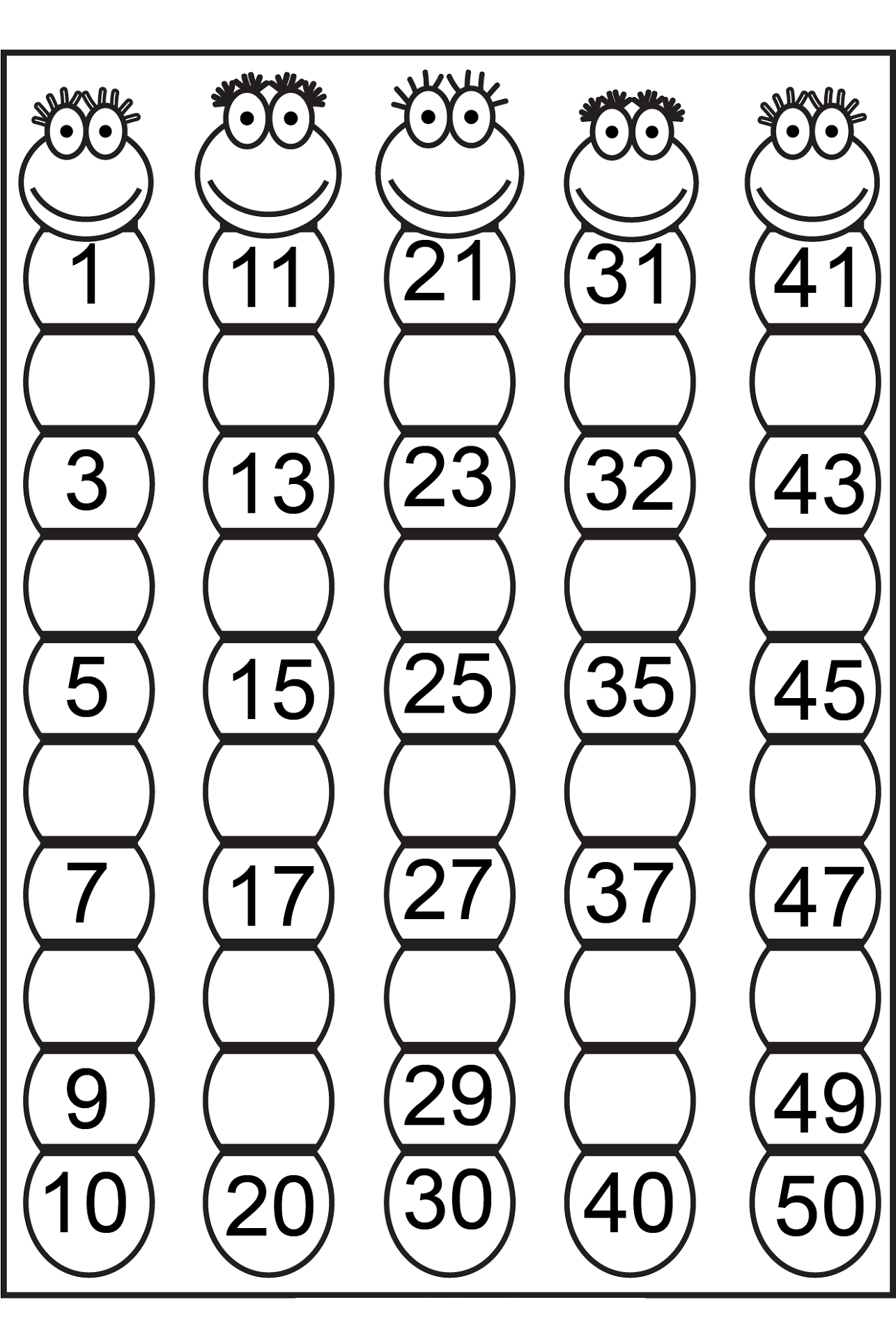 Number Charts 1 50 To Print