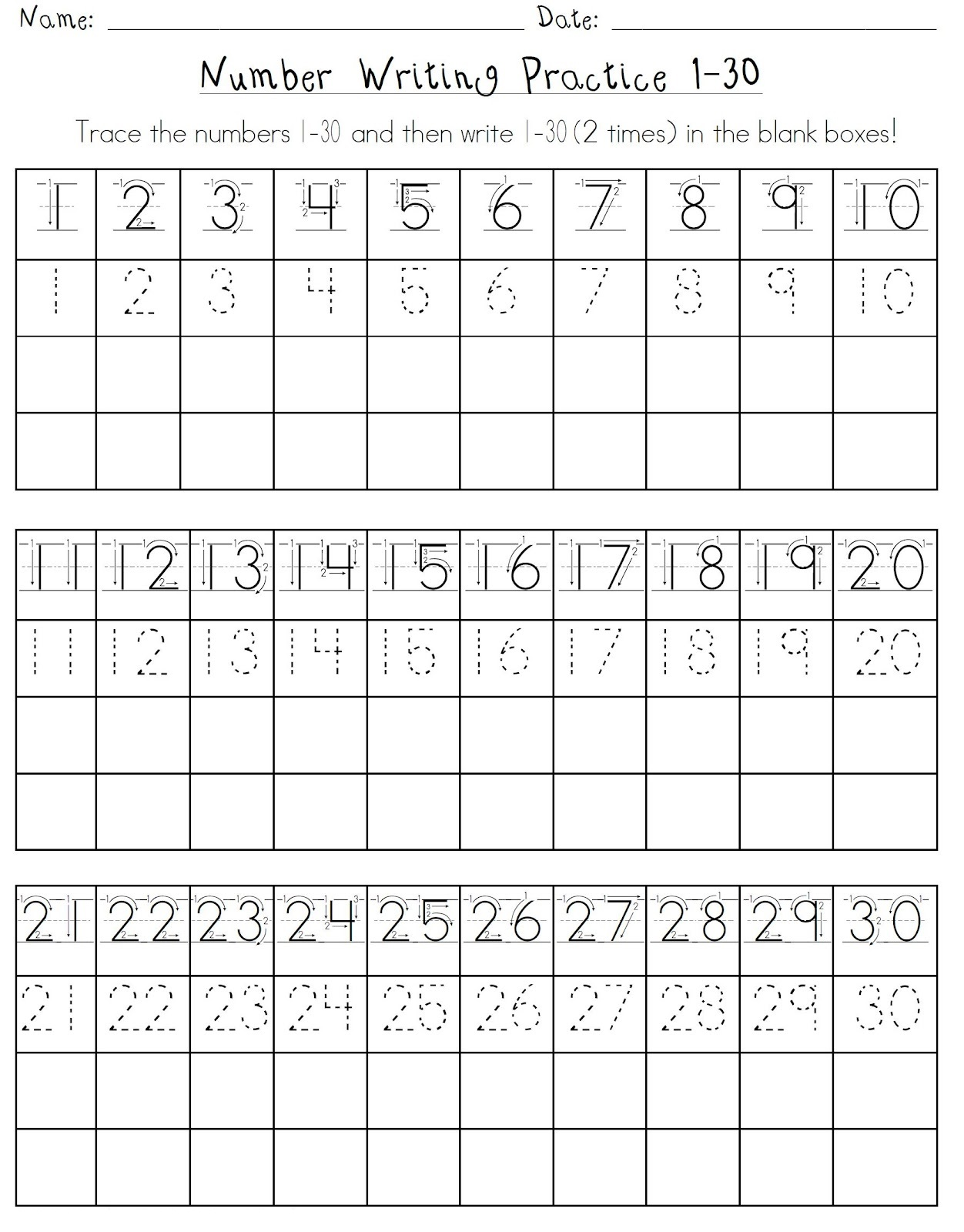 Number Practice Sheets 1 30 Activity Shelter