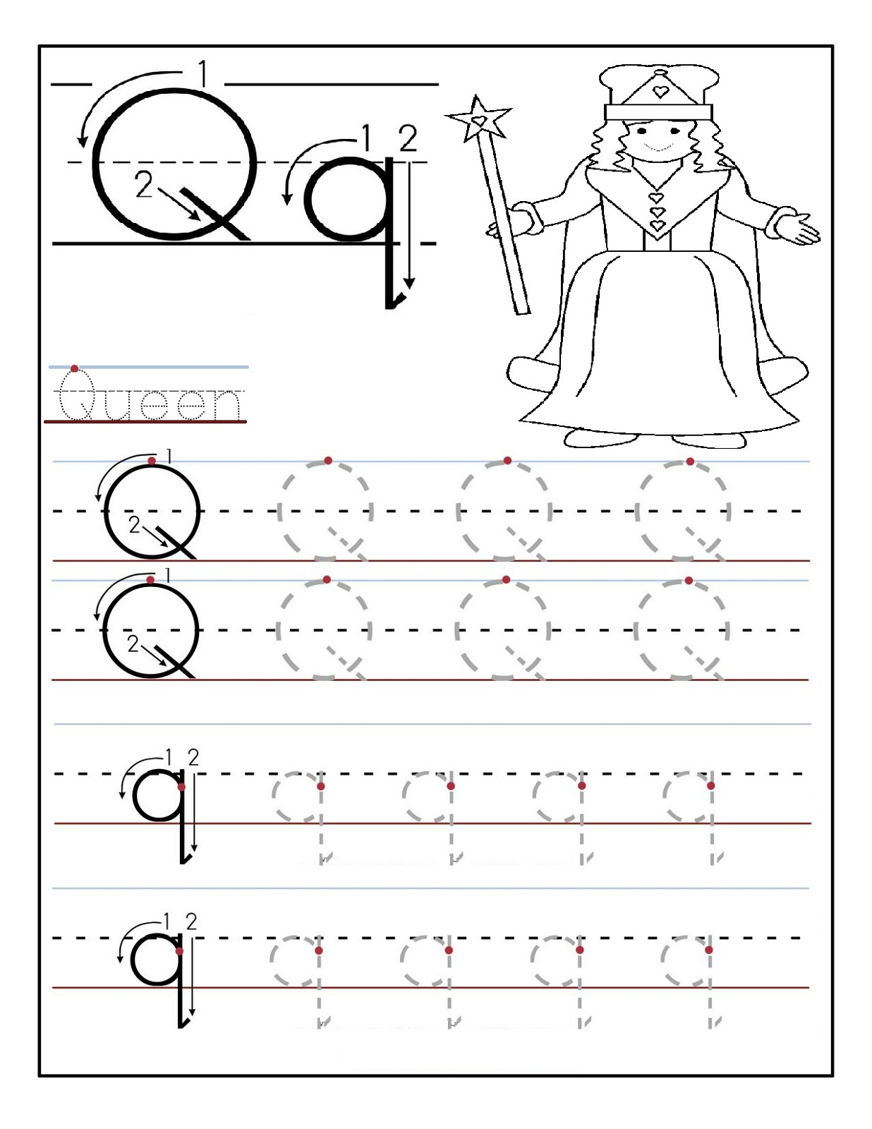 Preschool Alphabet Worksheets Queen Activity Shelter