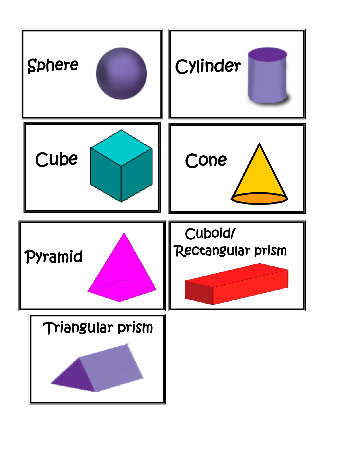 3d Shape Homework Year 3