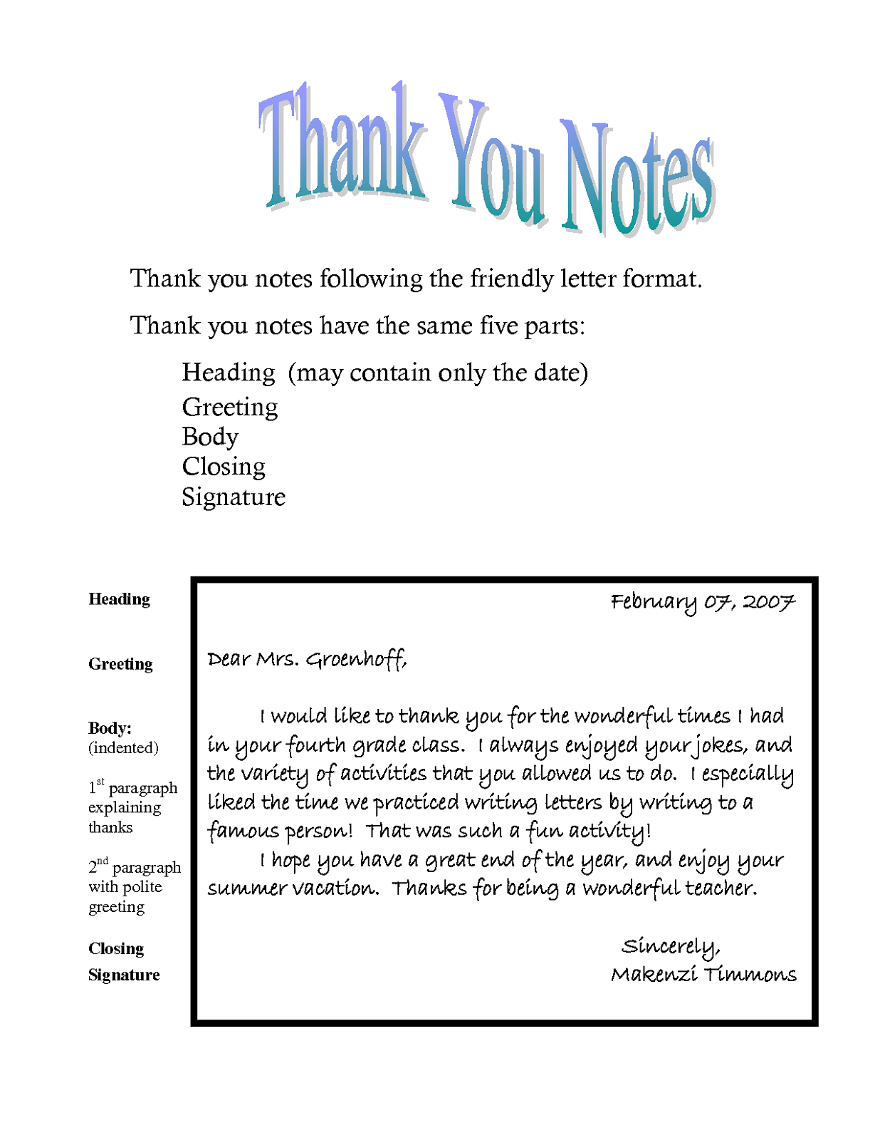 Thank You Notes Templates Activity Shelter