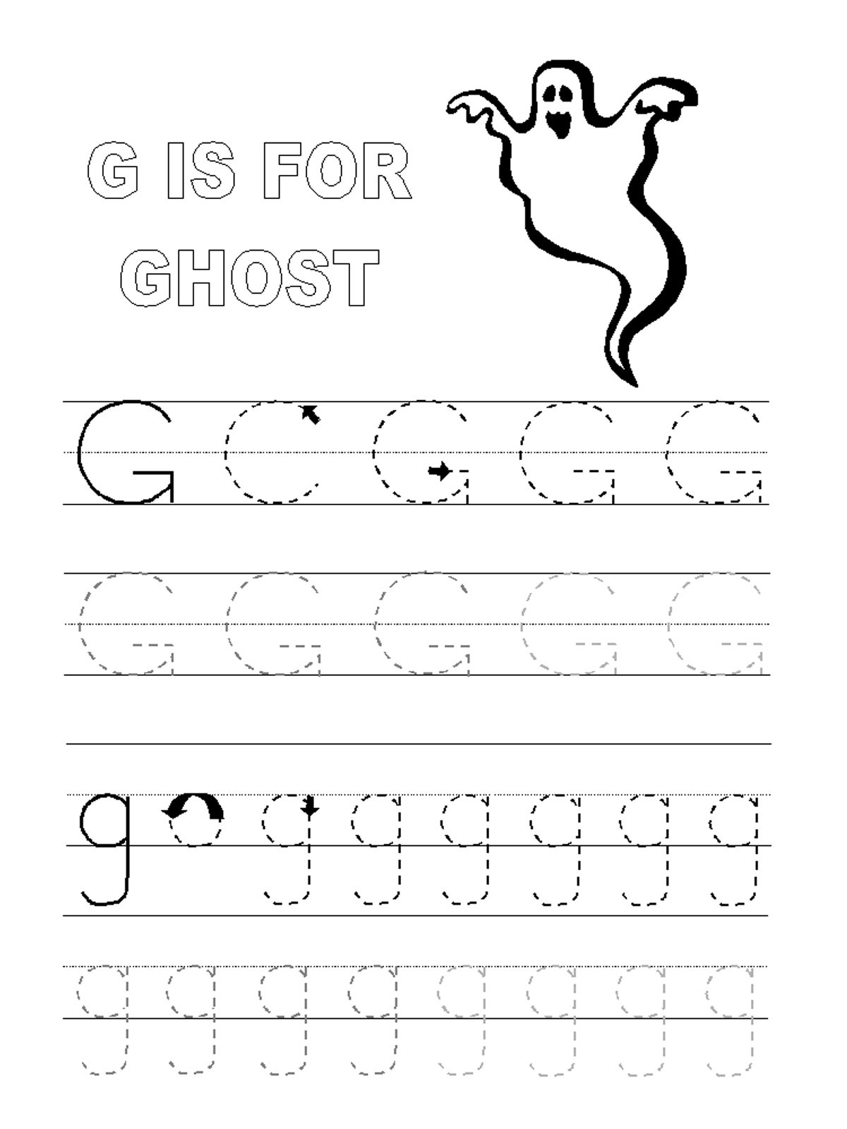 Trace Letter G Worksheets