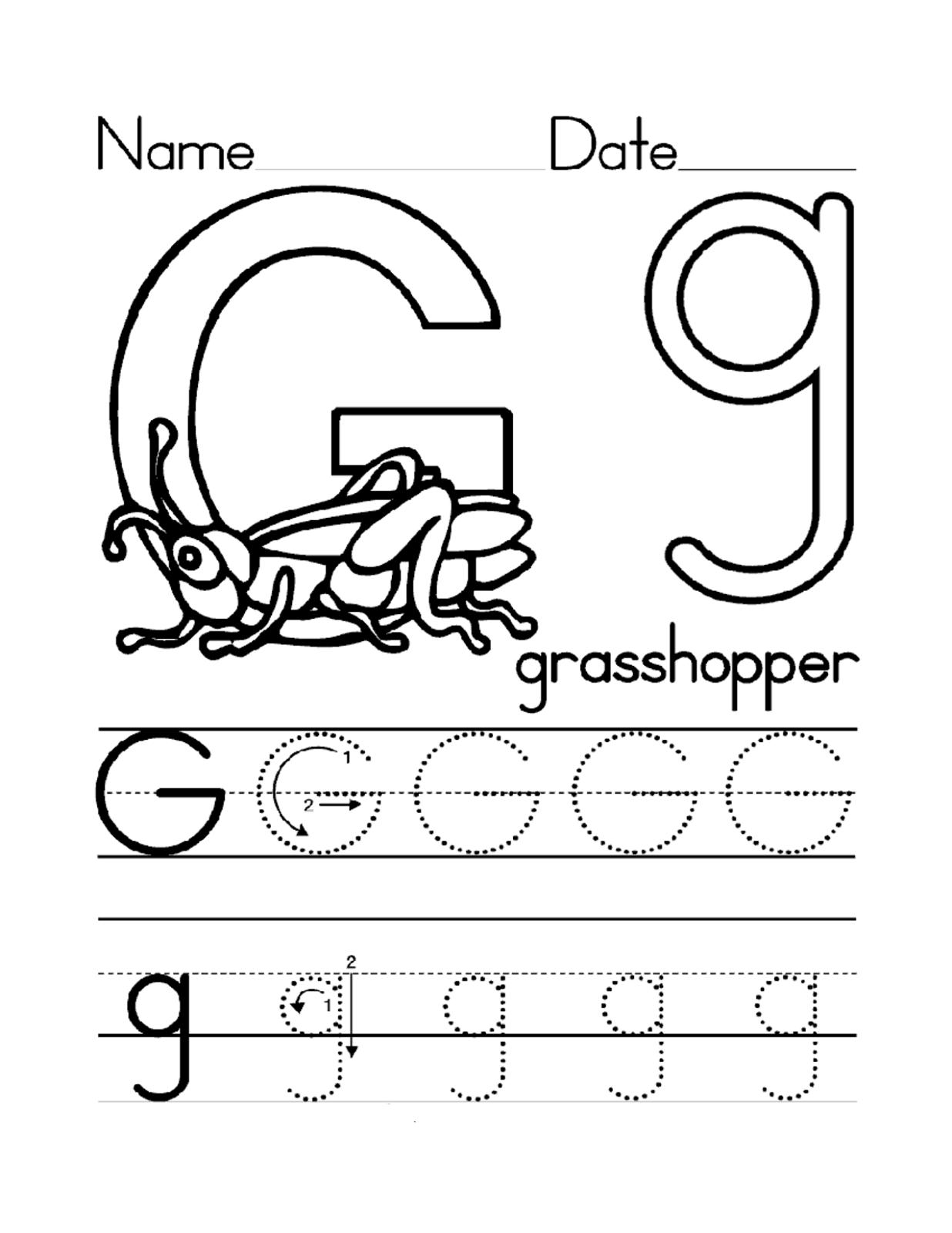 Letter Gg Worksheet