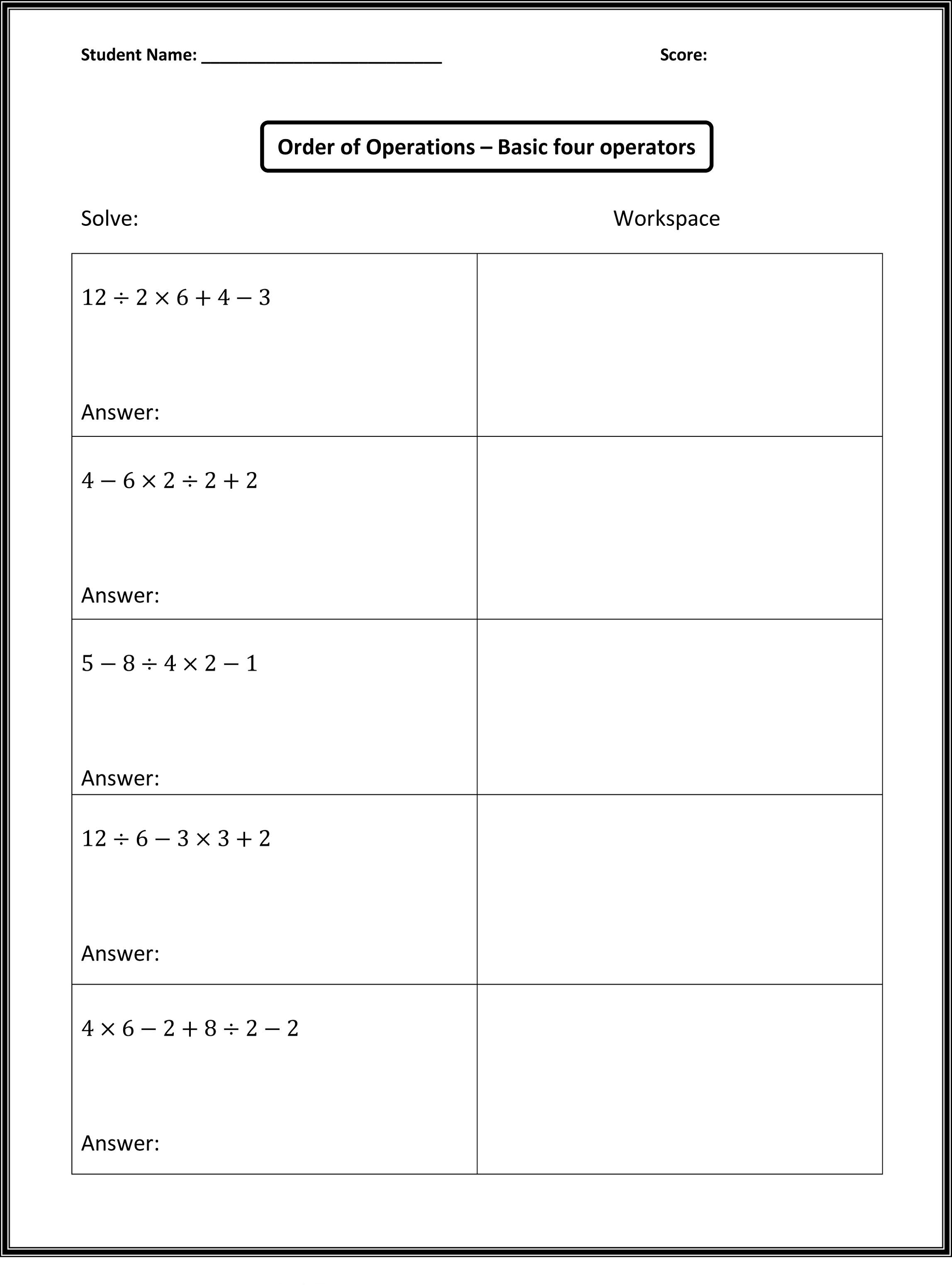 Printable Q Worksheet