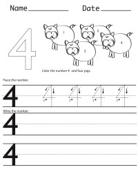 Number 4 Worksheets to Print | Activity Shelter