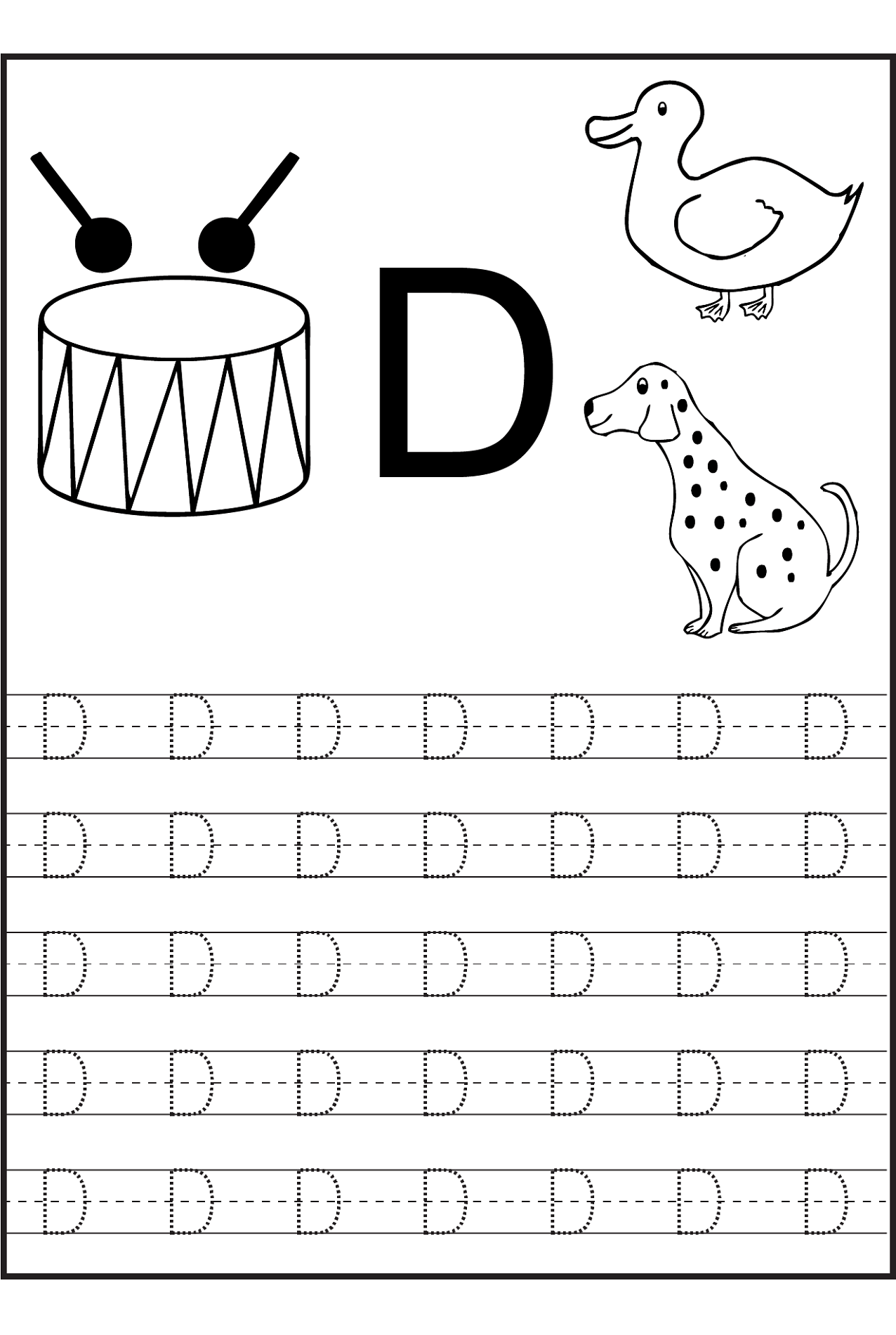 Trace Letter D Worksheets