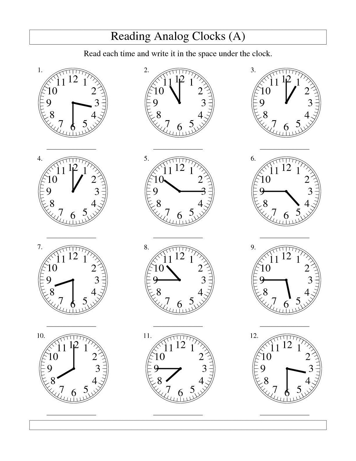Telling Time Clock Face Worksheet
