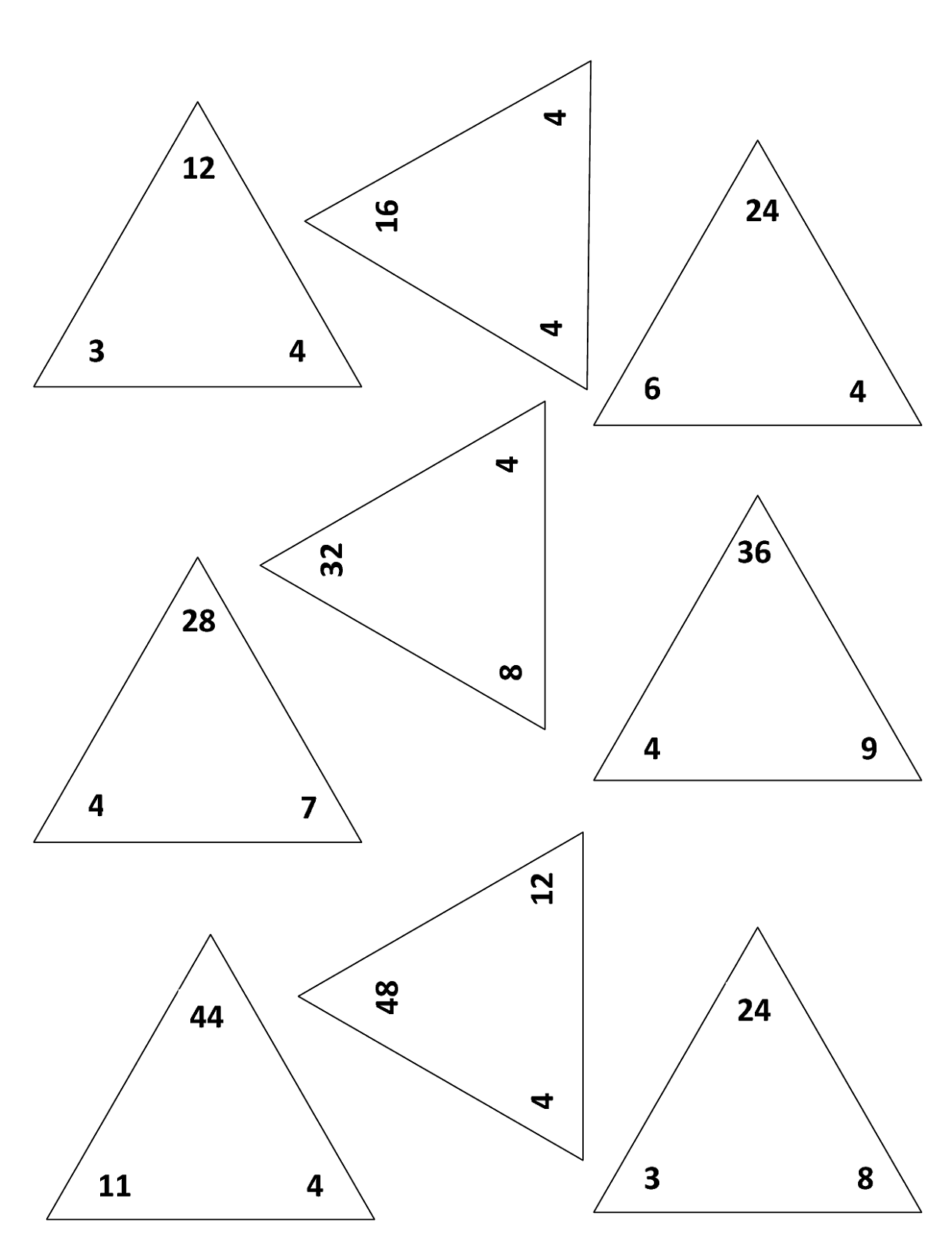 Addition And Subtraction Fact Family Triangle Worksheets