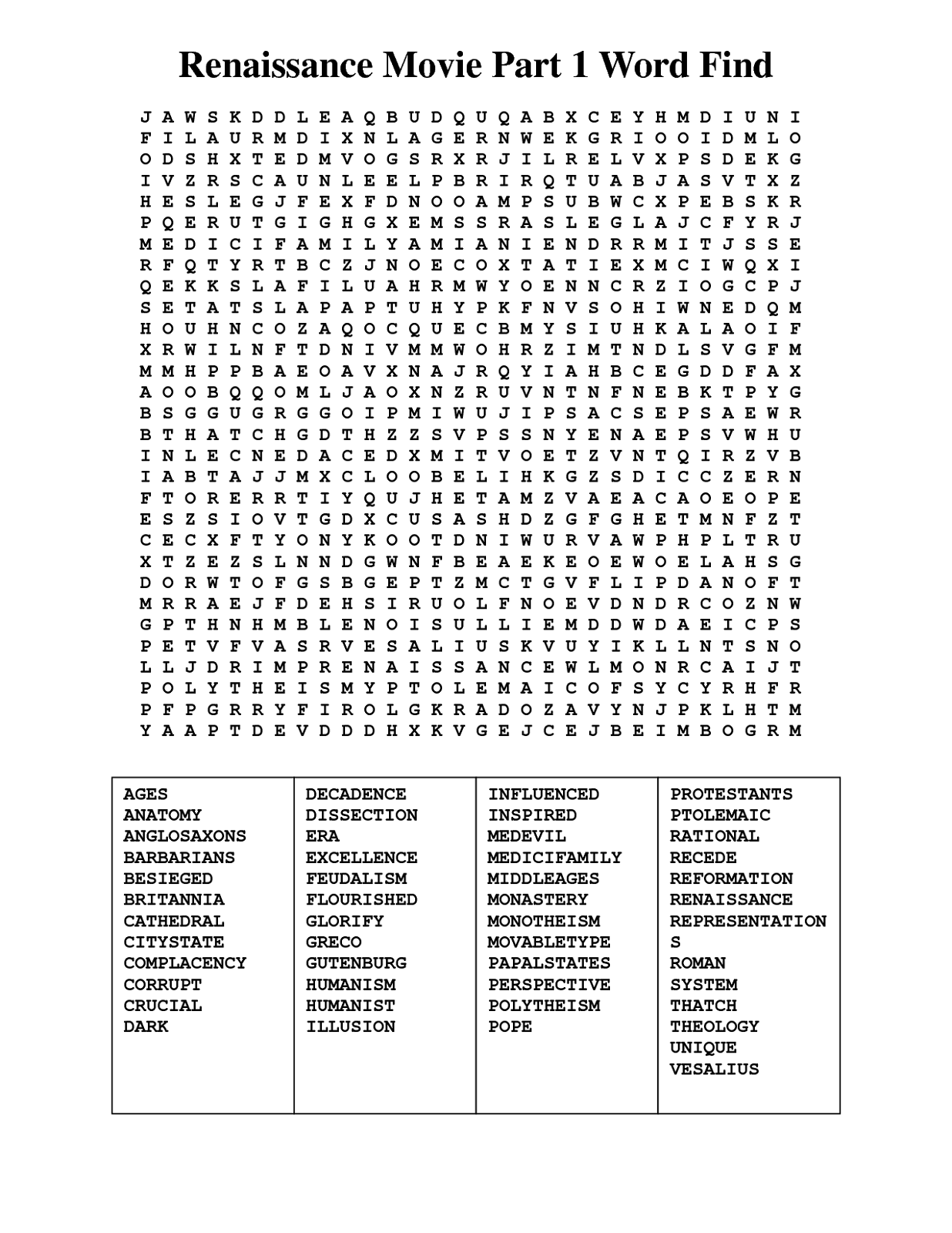 Movie Word Search