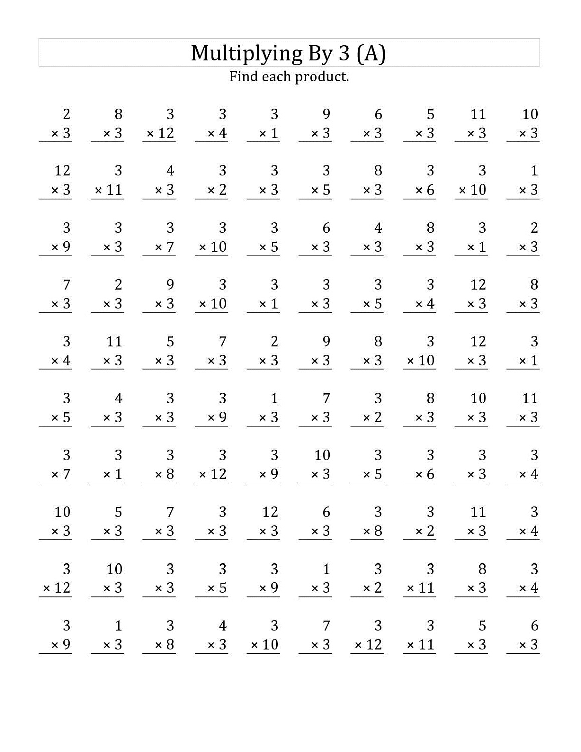 Multiply By 3 Worksheets