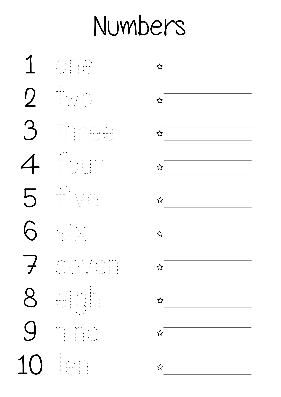 Printable Number Words Worksheets