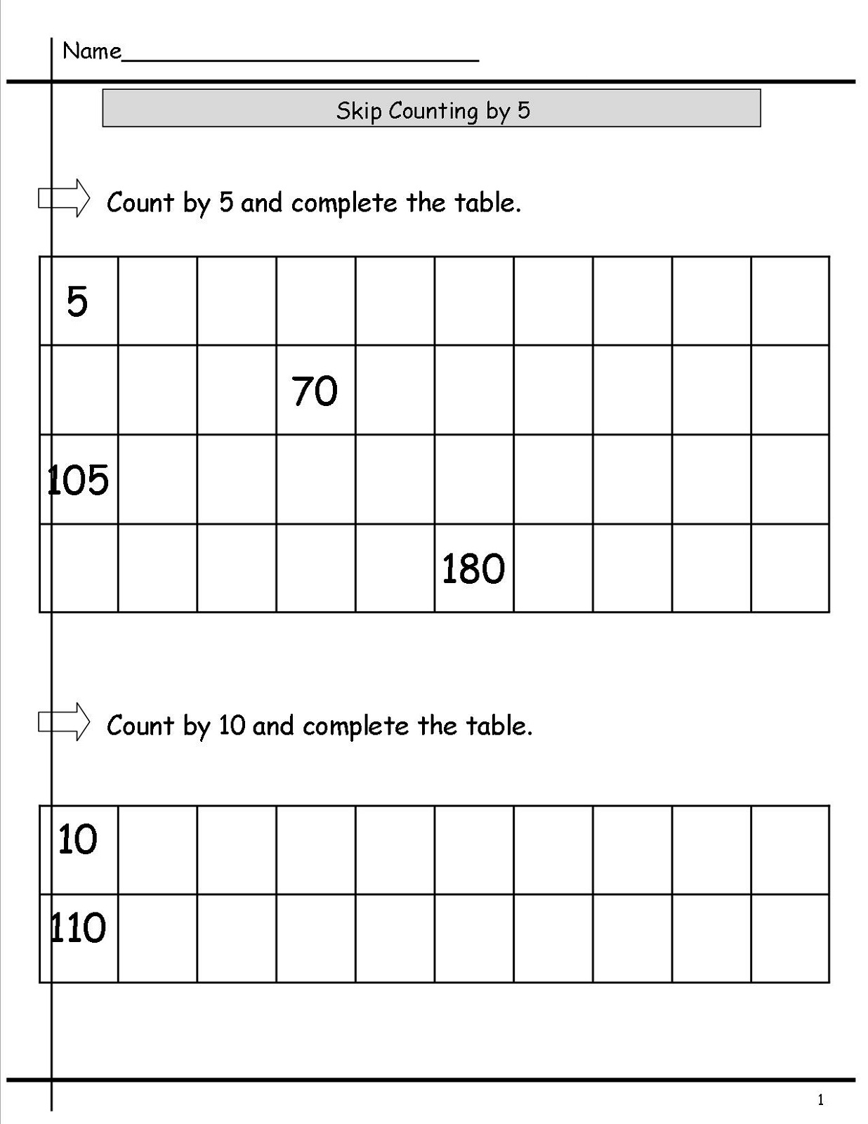 Skip Count By 10 Worksheets