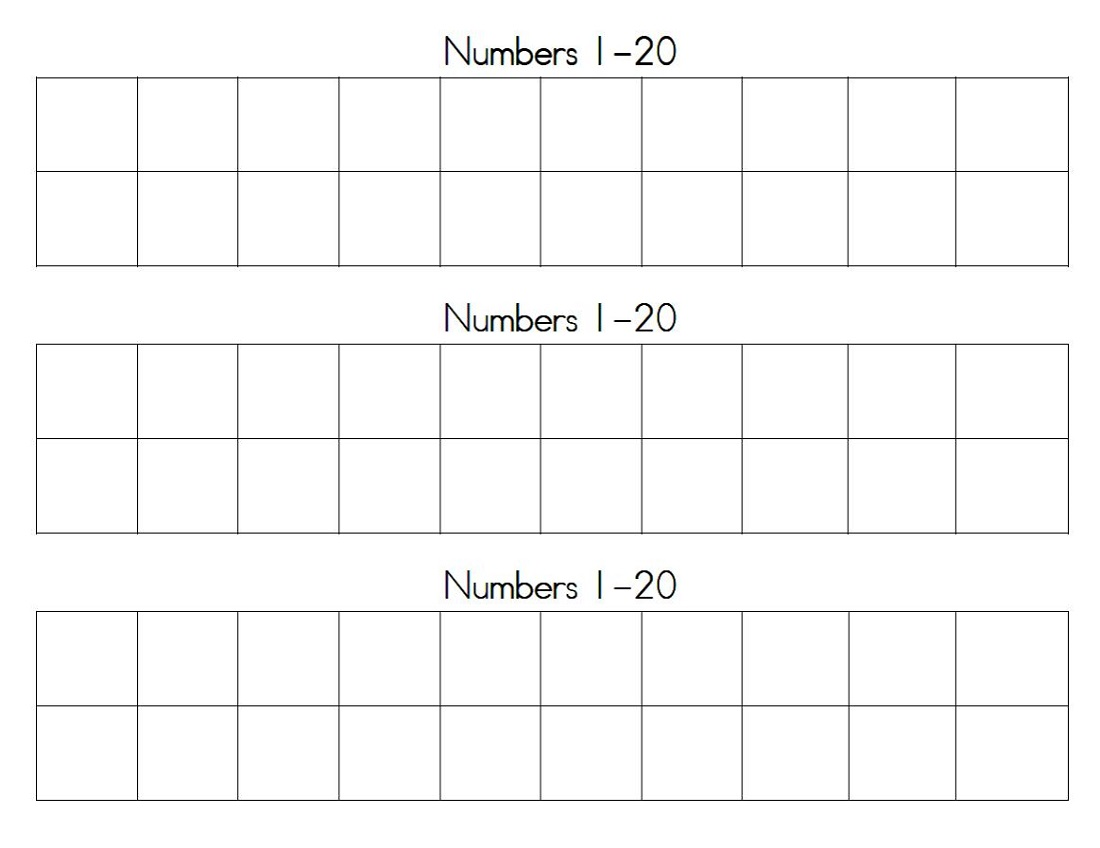 Printable Number Chart 1 20