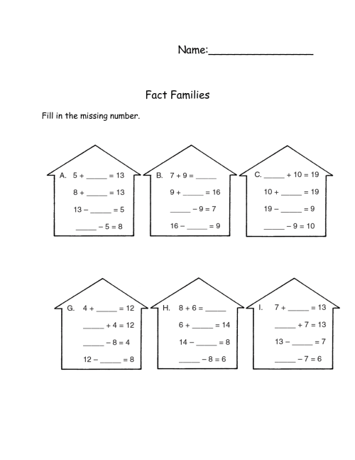 small resolution of Fact Family Worksheets to Print   Activity Shelter