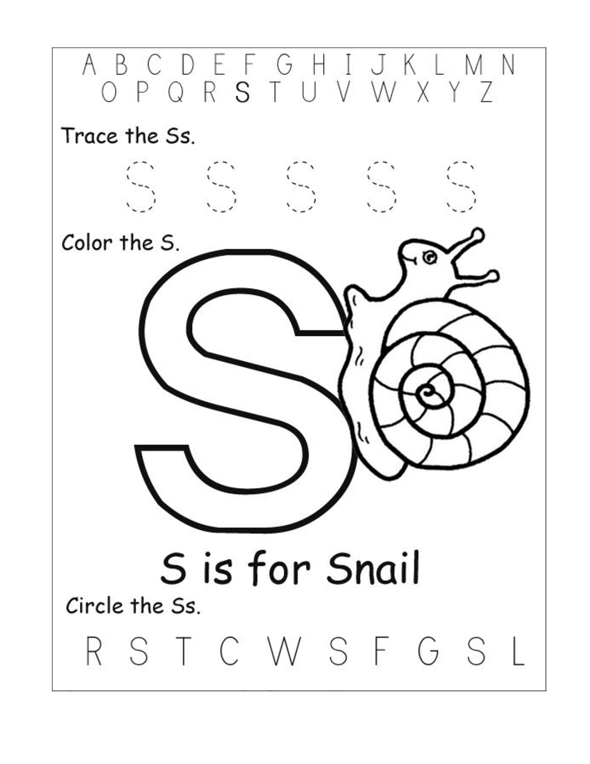 Printable Letter S Worksheets
