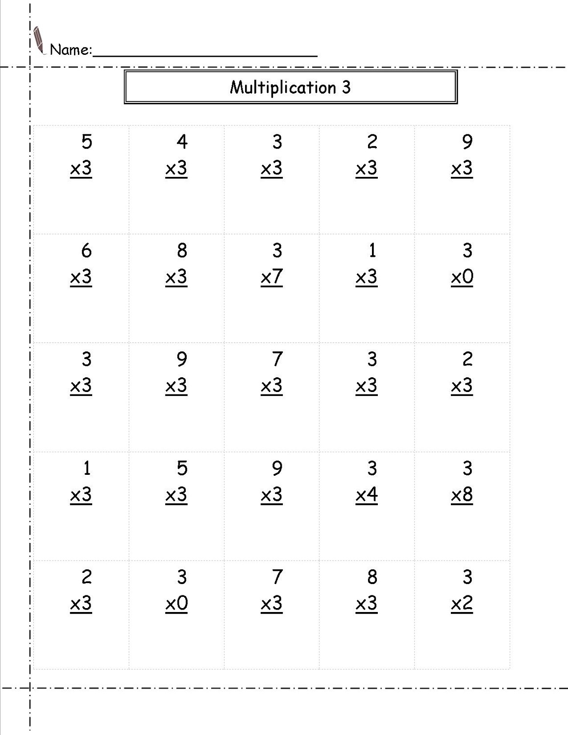 Multiply By 3 Worksheets Printable
