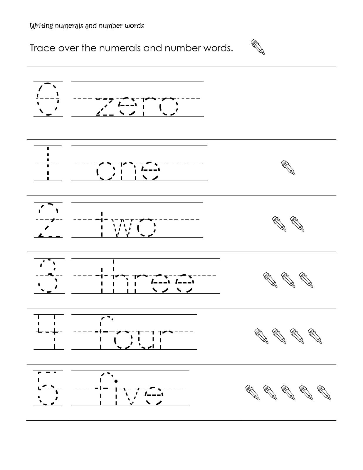 Printable Number Names Worksheets