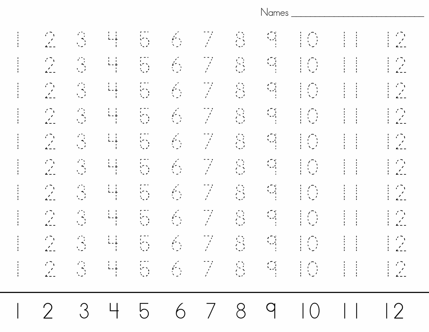 Printable Number Trace Worksheets