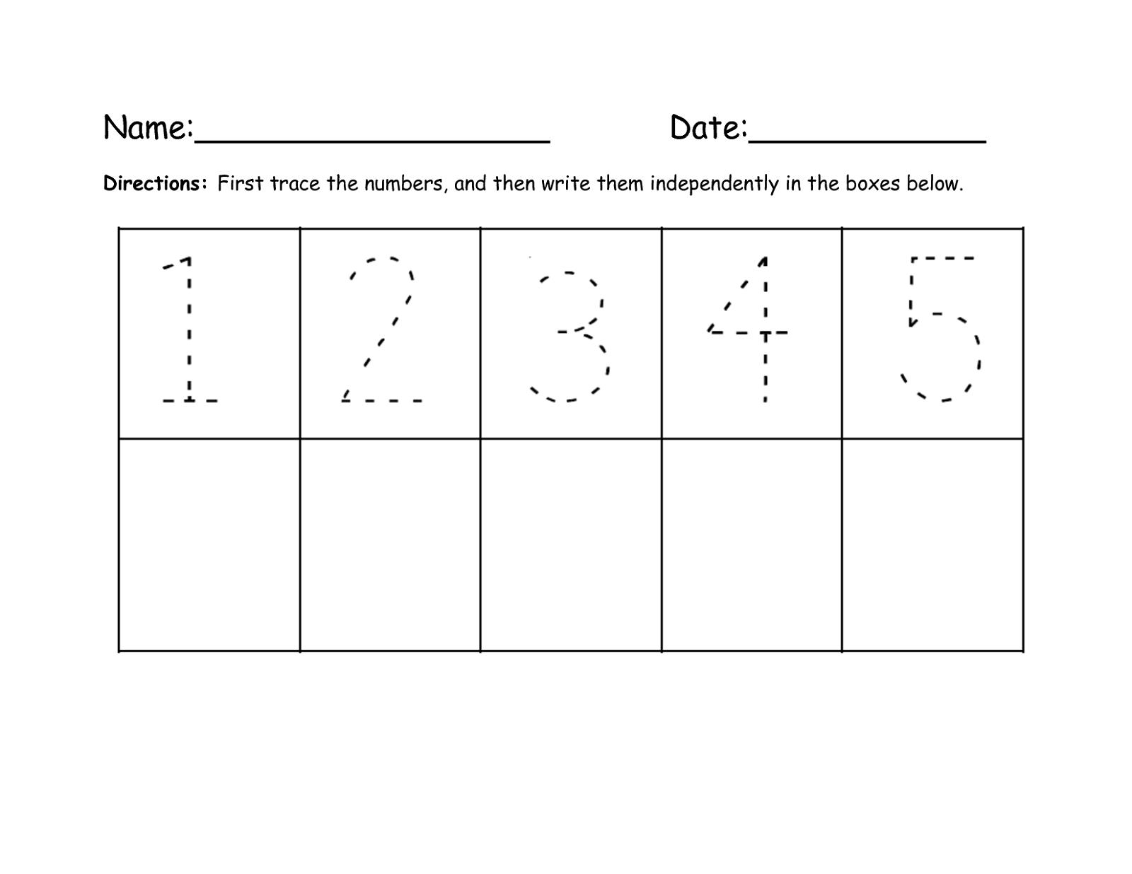 Printable Number Trace Worksheets