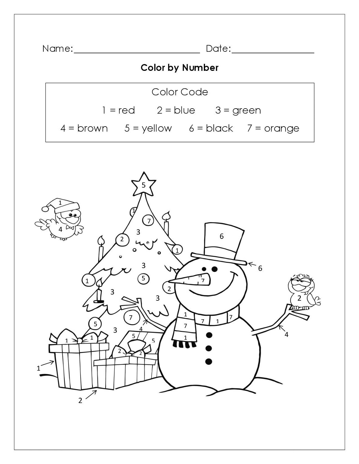 Color By Numbers Worksheets Printable