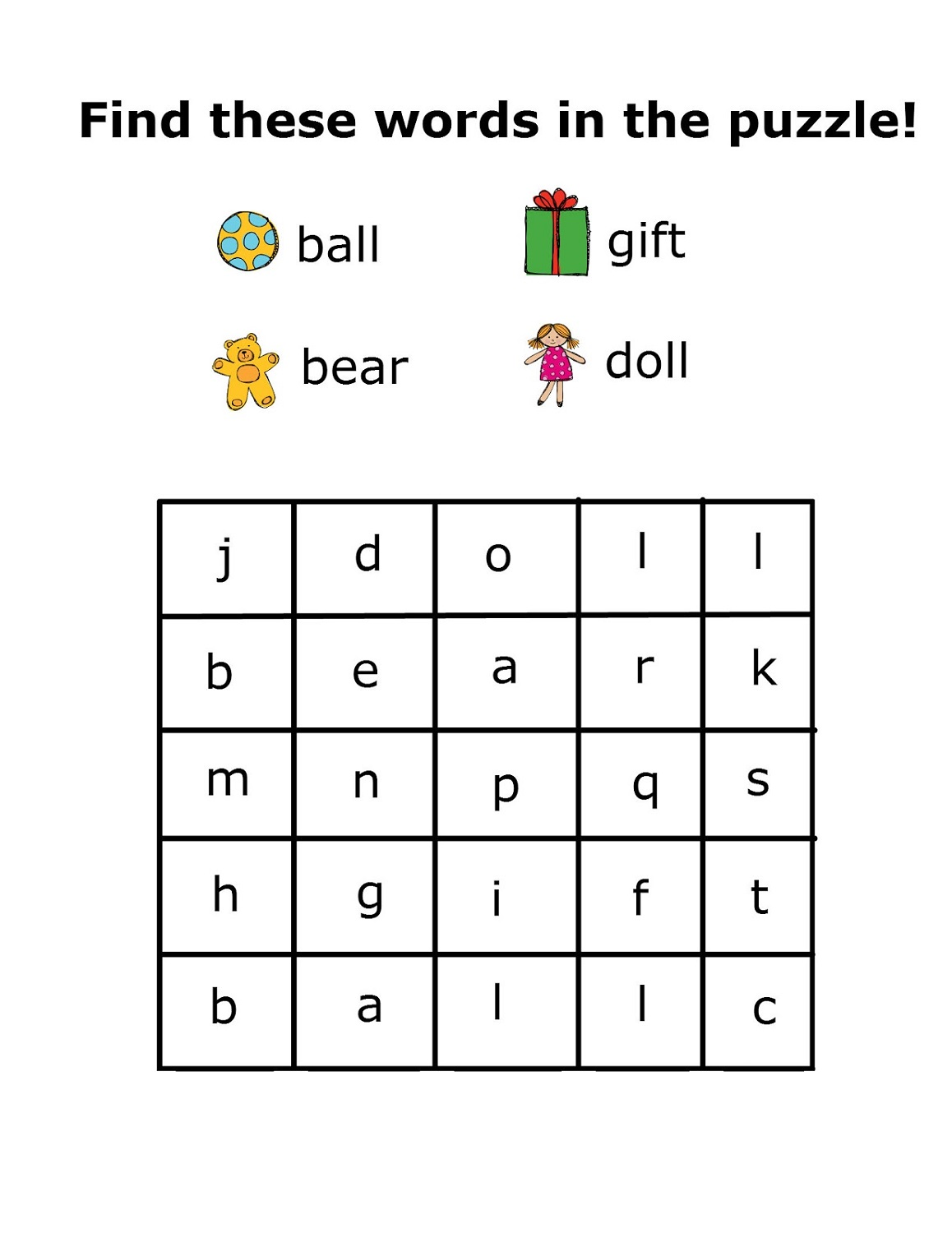Free Easy Word Searches For Kids