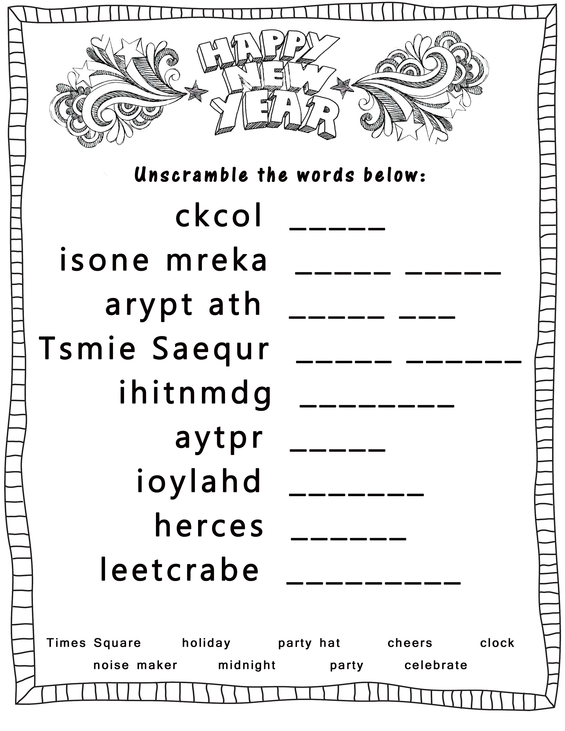 Word Scrambles Worksheets