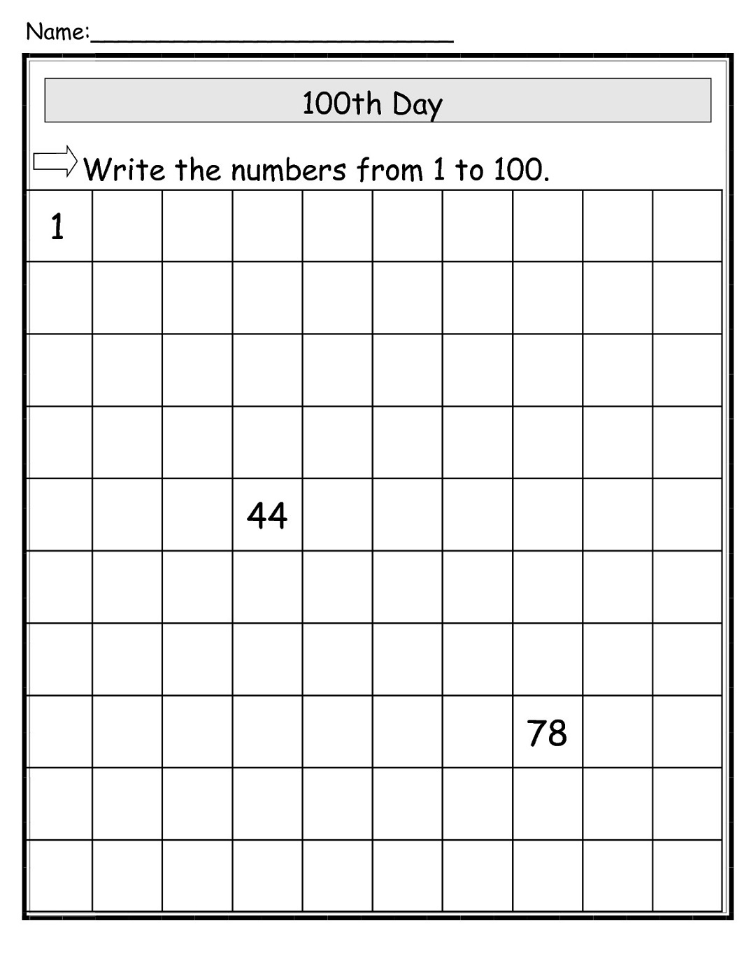 Free 100 Chart Worksheets For Kids