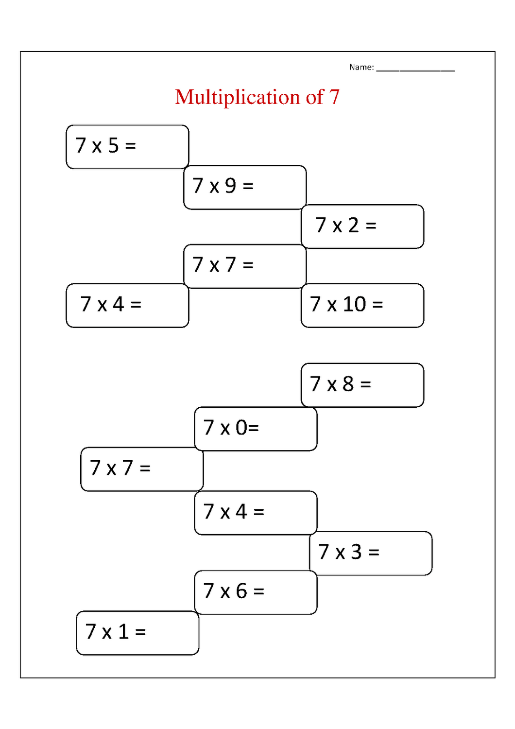 Multiplying Worksheets