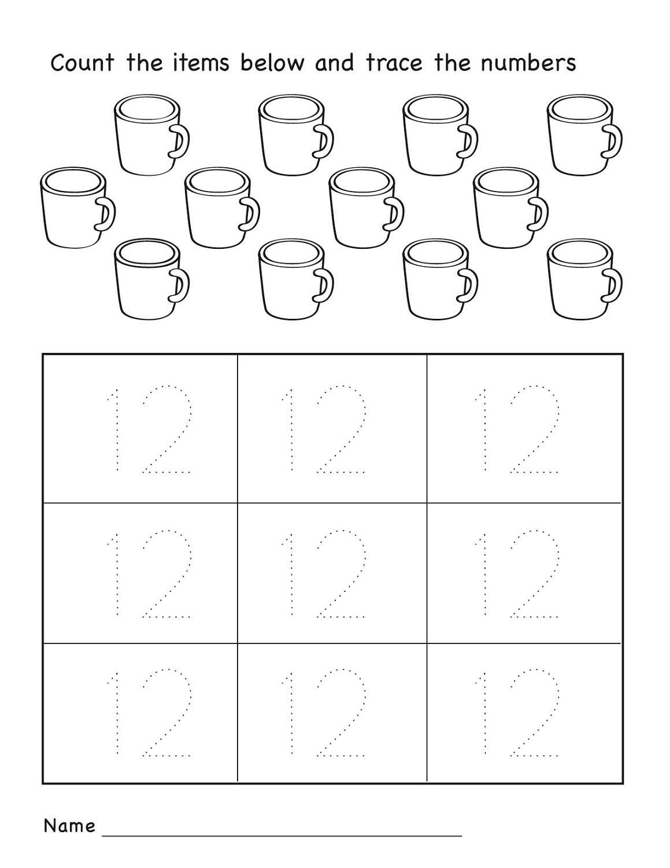 Number 12 Worksheets Easy