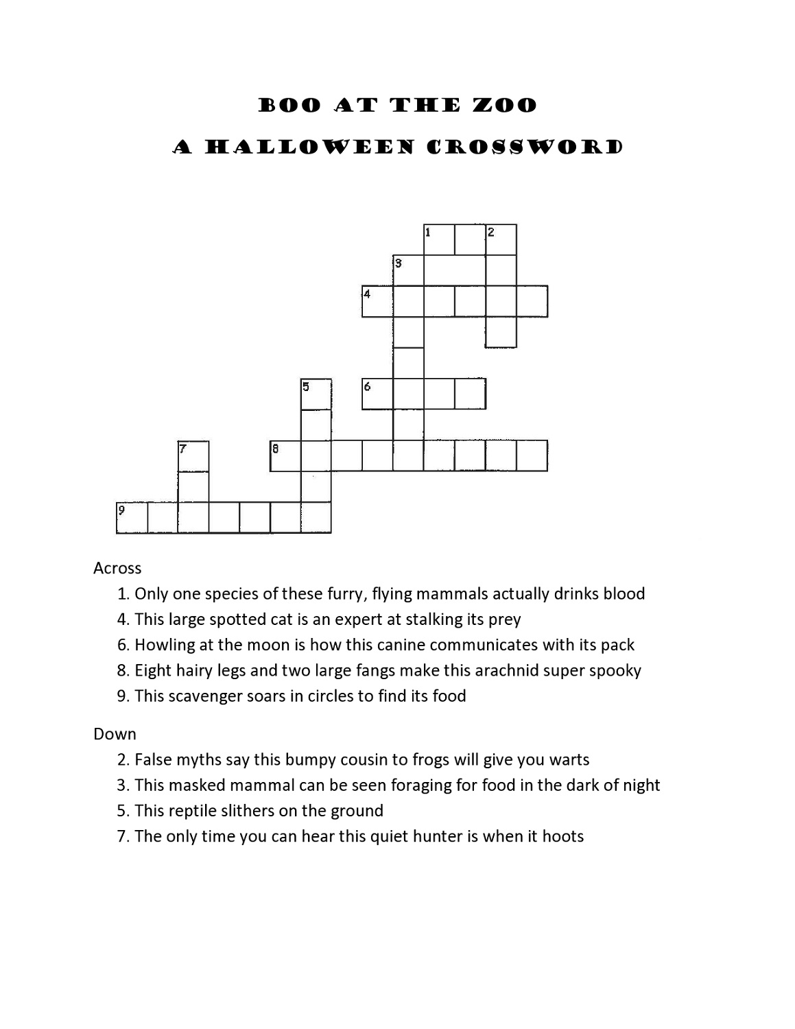 Crossword Puzzles For 5th Graders