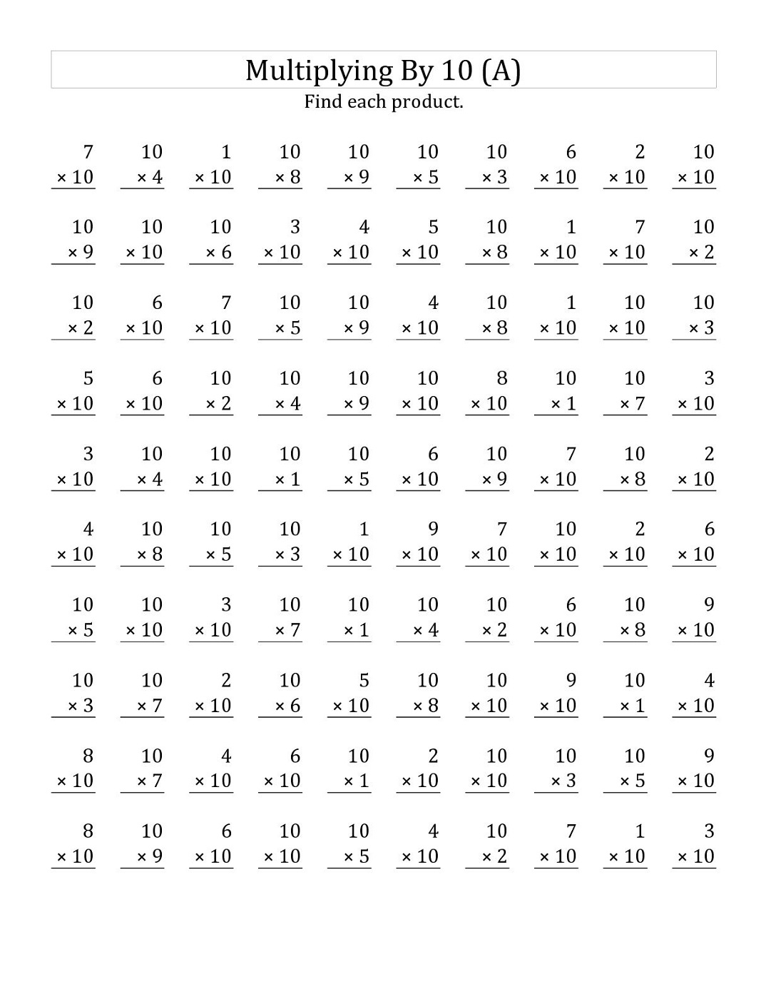 Multiples Of 10 Worksheets