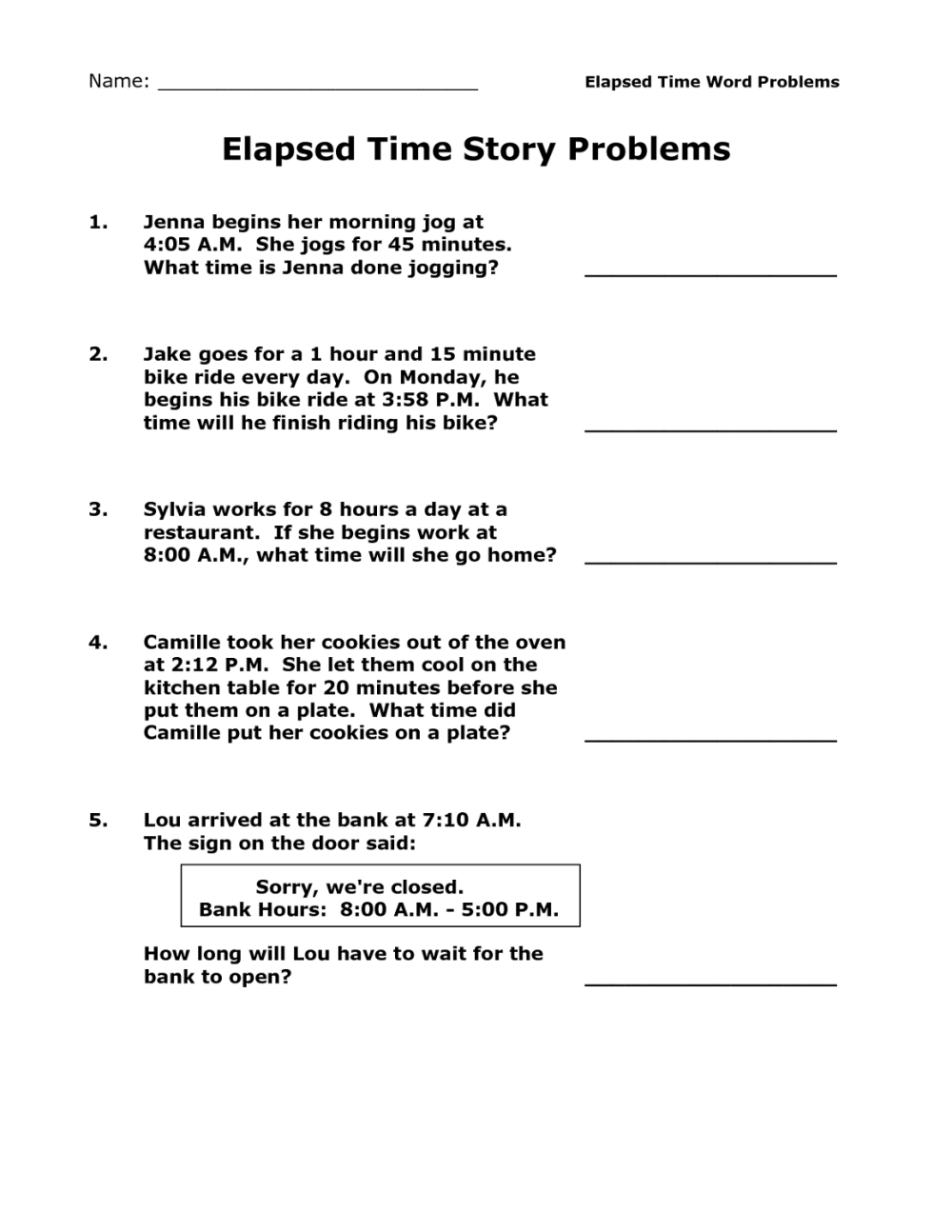 medium resolution of Printable Elapsed Time Worksheets Free   Activity Shelter