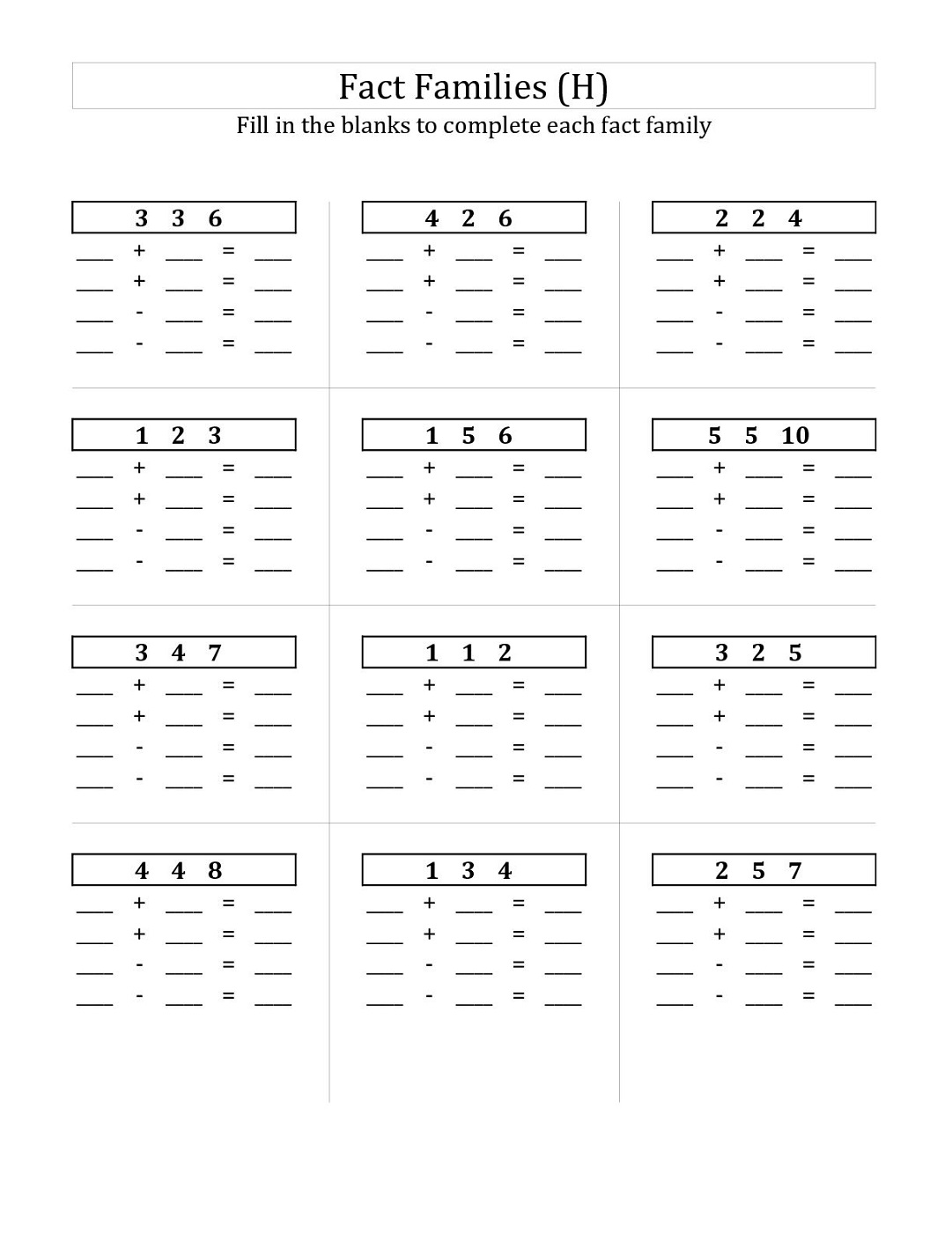 Math Fact Families Worksheet
