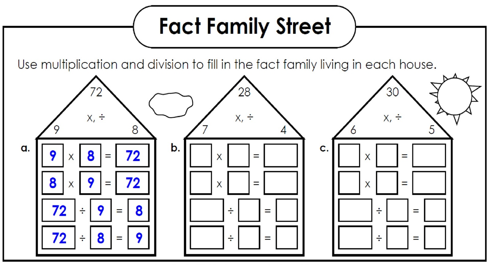 Math Fact Worksheet Multiplication Divisio
