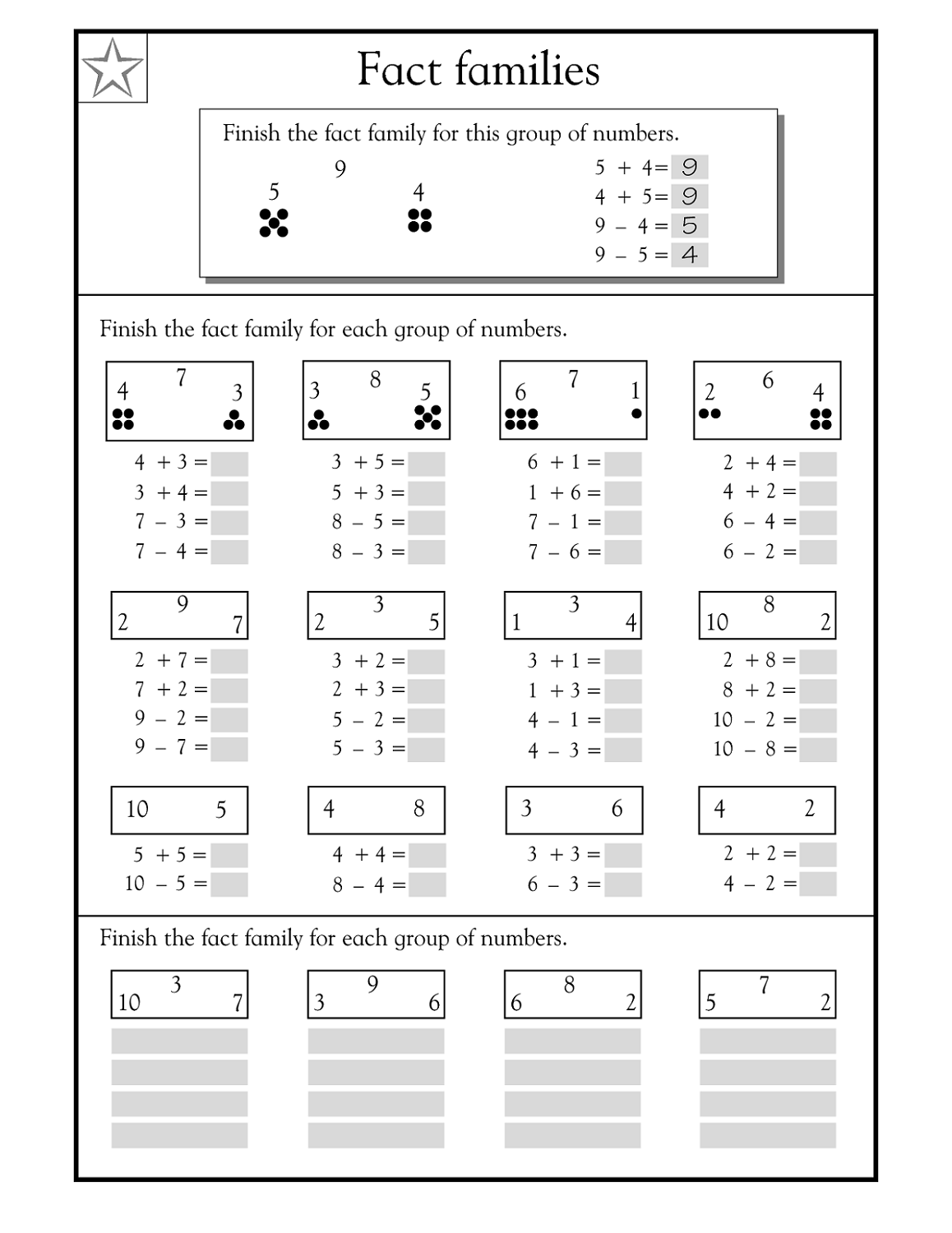 hight resolution of Fact Family Worksheets for First Grade   Activity Shelter