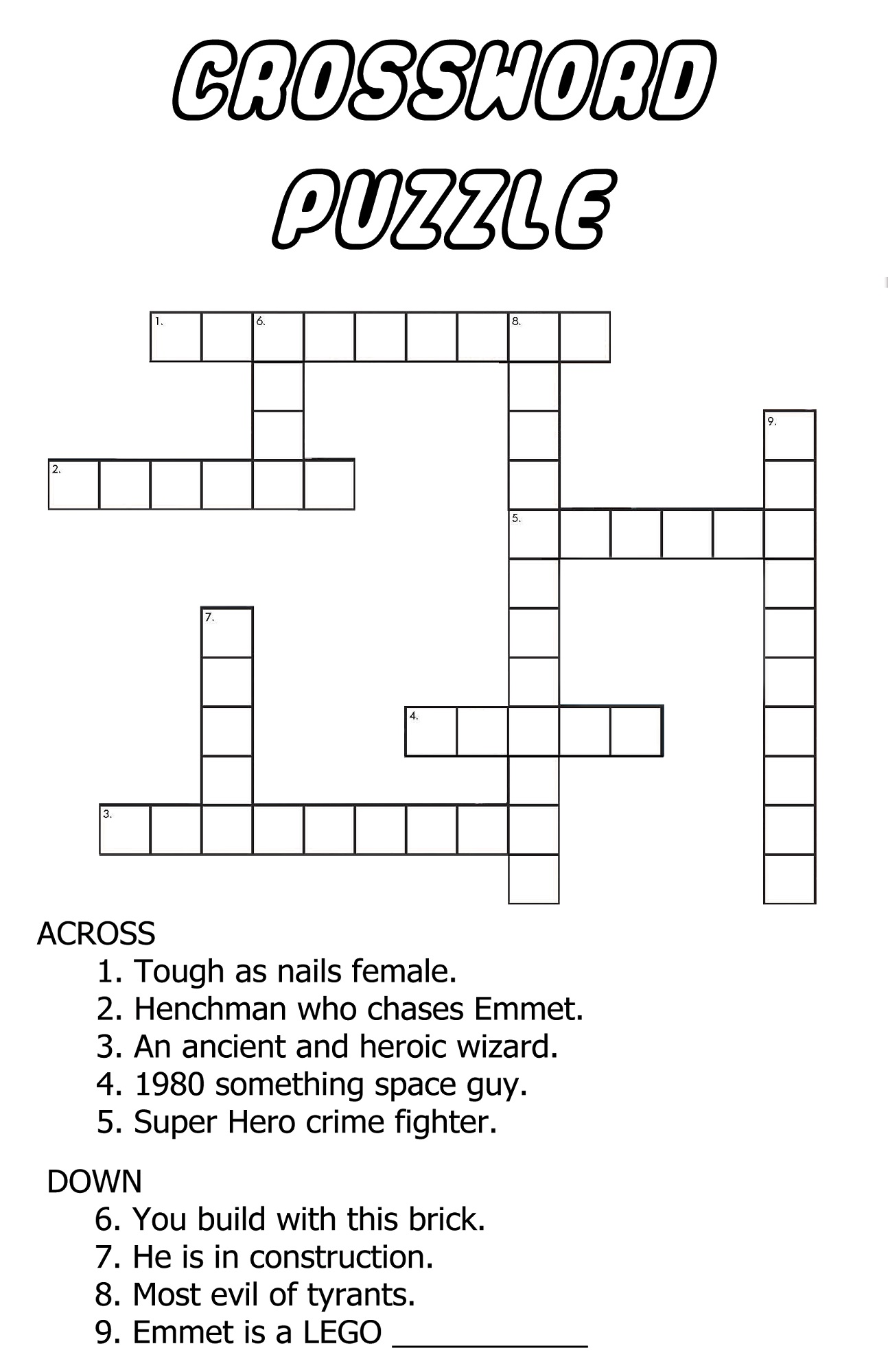 Very Easy Crossword Puzzles For Kids