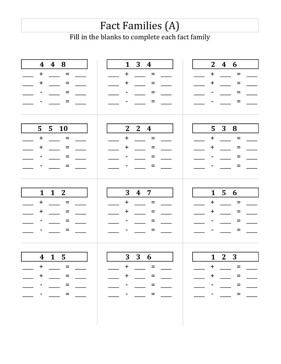 2nd Grade Fact Families Worksheet