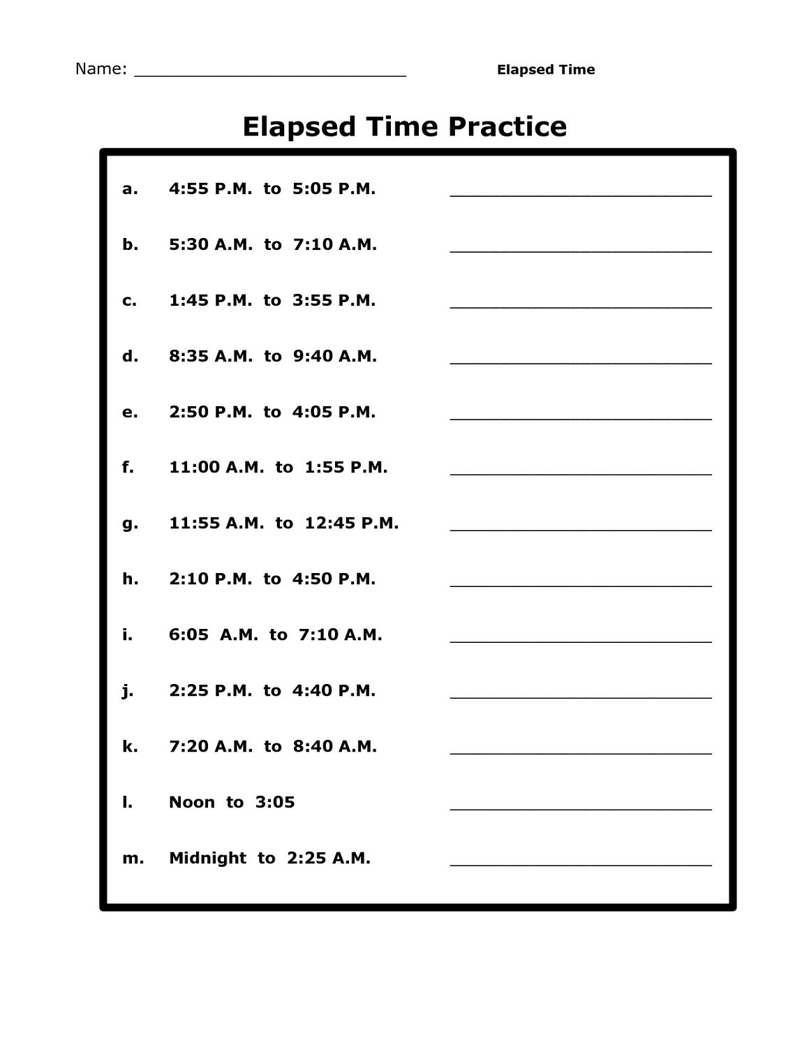 hight resolution of Printable Time Elapsed Worksheets   Activity Shelter